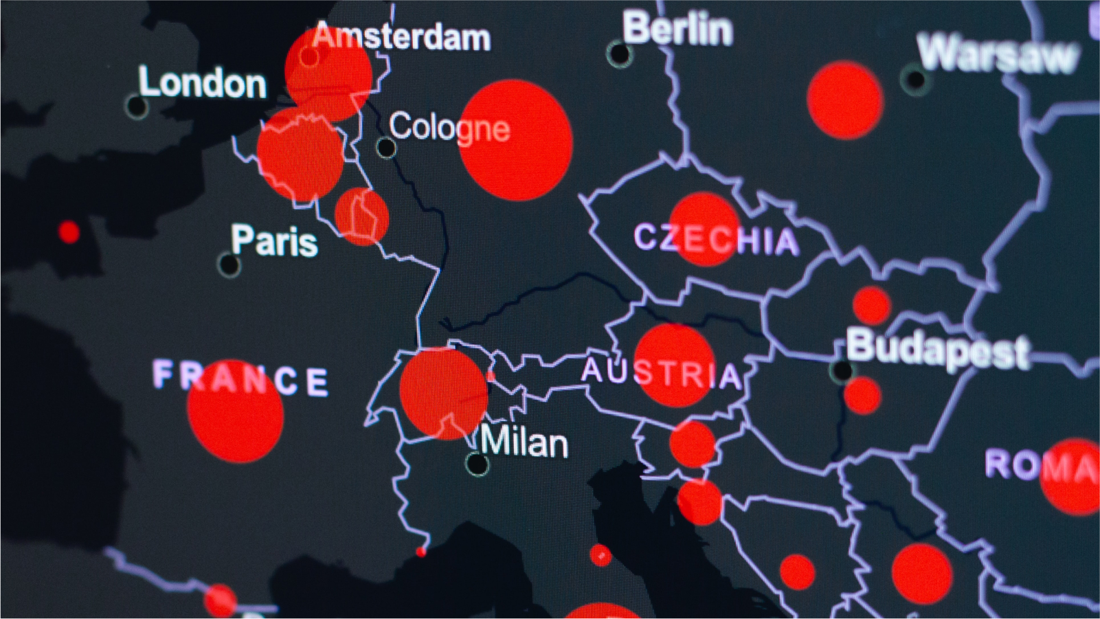 Image of a map of COVID-19 situation in Europe